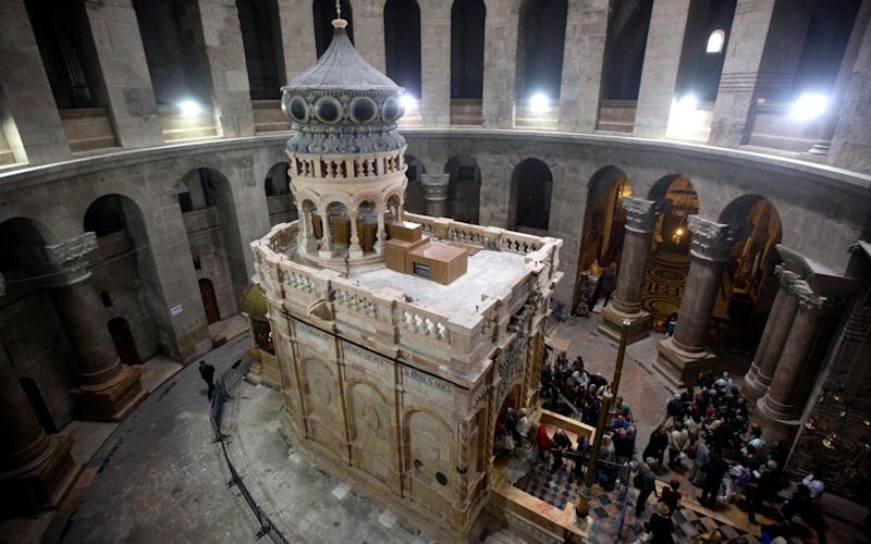 The tomb of Jesus Christ with the rotunda is seen in the Church of the Holy Sepulchre on March 21, 2017 in Jerusalem, Israel - Getty Images