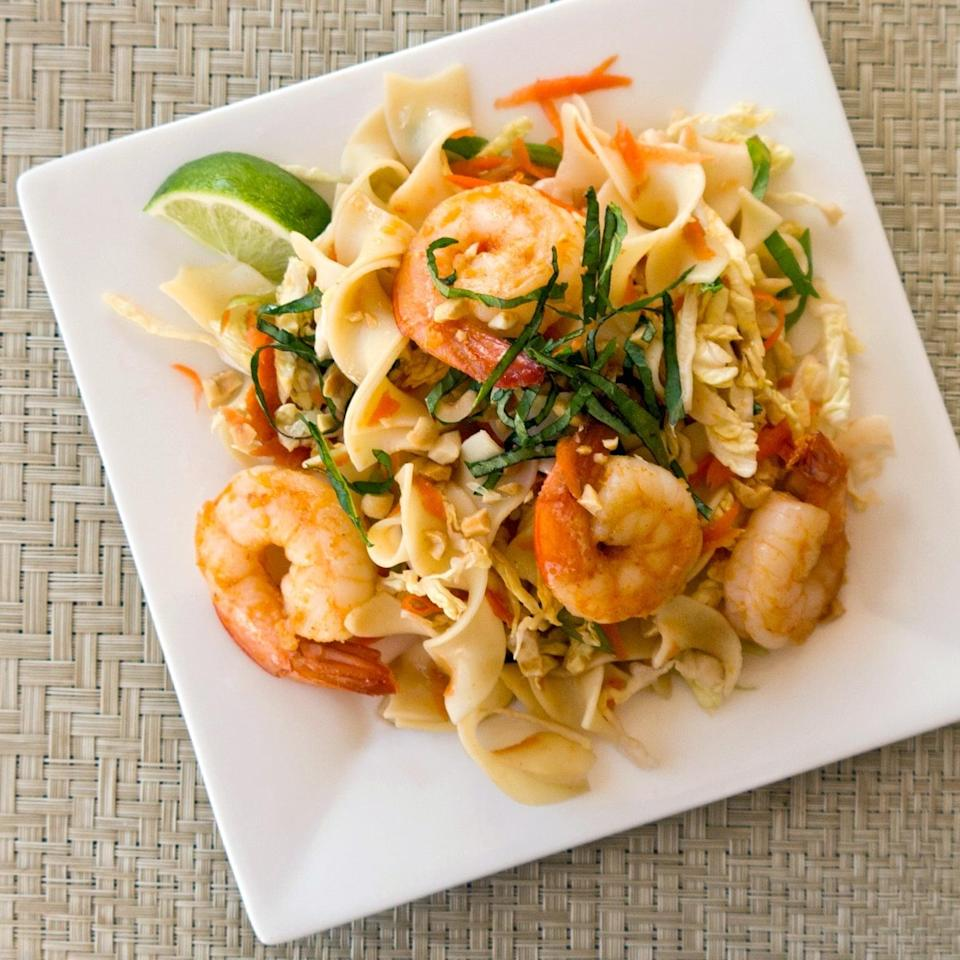 """<p>A variety of textures and flavors make this <a href=""""https://www.popsugar.com/food/Ginger-Garlic-Shrimp-Recipe-36166939"""" class=""""link rapid-noclick-resp"""" rel=""""nofollow noopener"""" target=""""_blank"""" data-ylk=""""slk:ginger garlic shrimp with noodles"""">ginger garlic shrimp with noodles</a> exciting to eat.</p>"""