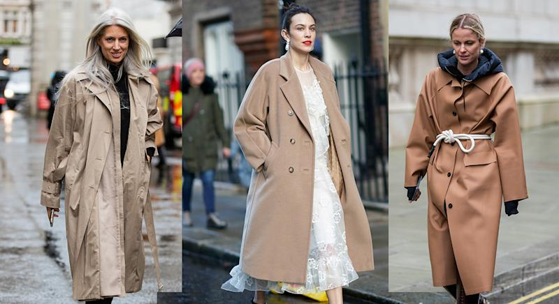Neutral palettes and trench coats were a staple on the streets of London this Fashion Week. (Getty Images)