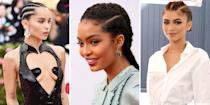 """<p class=""""body-dropcap"""">Cornrows are one of the most versatile ways to style and protect curly and coarse hair. You'll often see these gorgeous braids done in straight lines from the hairline, but they can also be weaved in intricate styles and fun designs. """"Cornrows are a great option as a protective style,"""" says celebrity hairstylist <a href=""""https://www.instagram.com/sosheargenius/"""" rel=""""nofollow noopener"""" target=""""_blank"""" data-ylk=""""slk:Annagjid &quot;Kee&quot; Taylor"""" class=""""link rapid-noclick-resp"""">Annagjid """"Kee"""" Taylor</a>. """"Protective styles give our hair a break from environmental stressors and damage from styling.""""</p><p>Ahead, Taylor breaks down how to achieve different cornrow hairstyles and exactly how to take care of them. Scroll through to read her tips and to find 20 of our favorite celebs and influencers rocking our favorite cornrow styles. </p>"""