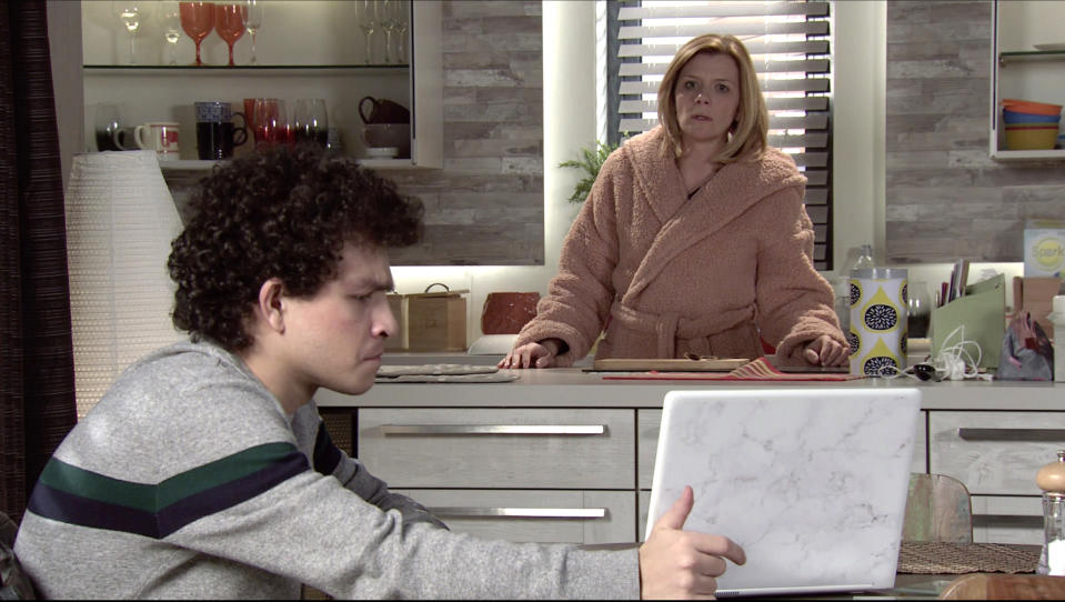 FROM ITV  STRICT EMBARGO - No Use Before Tuesday 9th February 2021  Coronation Street - Ep 10250  Monday 15th February 2021 - 2nd Ep  Simon Barlow [ALEX BAIN] confronts Leanne Tilsley [JANE DANSON] with her phone records and points out sheÕs been wasting money on premium rate calls to a psychic who fools her into thinking sheÕs in contact with Oliver. How will she react?   Picture contact David.crook@itv.com   This photograph is (C) ITV Plc and can only be reproduced for editorial purposes directly in connection with the programme or event mentioned above, or ITV plc. Once made available by ITV plc Picture Desk, this photograph can be reproduced once only up until the transmission [TX] date and no reproduction fee will be charged. Any subsequent usage may incur a fee. This photograph must not be manipulated [excluding basic cropping] in a manner which alters the visual appearance of the person photographed deemed detrimental or inappropriate by ITV plc Picture Desk. This photograph must not be syndicated to any other company, publication or website, or permanently archived, without the express written permission of ITV Picture Desk. Full Terms and conditions are available on  www.itv.com/presscentre/itvpictures/terms