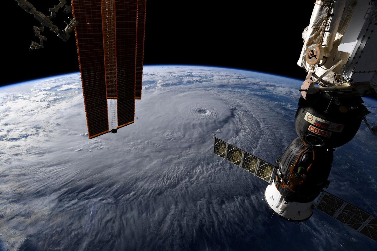 <p>A photo taken from the International Space Station by astronaut Ricky Arnold shows Hurricane Lane in the early morning hours near Hawaii. (Reuters) </p>