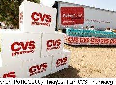Boxes staked outside a CVS trailer