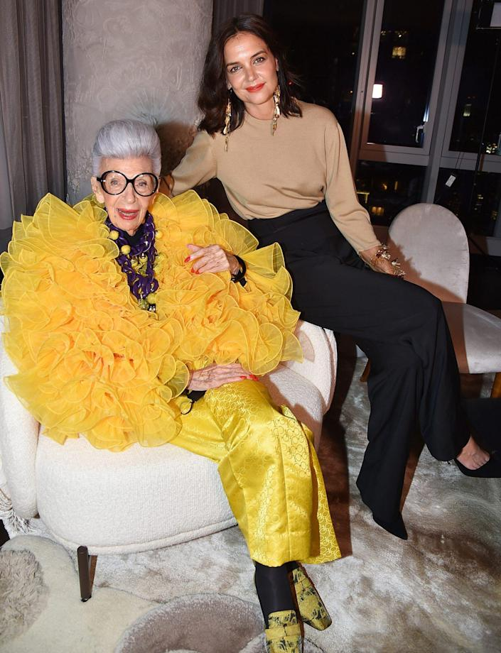 <p>Katie Holmes poses with birthday girl Iris Apfel at the fashion icon's 100th birthday party at Central Park Tower on Sept. 9 in N.Y.C. </p>
