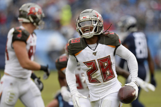 Tampa Bay Buccaneers cornerback Vernon III Hargreaves (28) celebrates after recovering a fumble by the Tennessee Titans in the second half of an NFL football game Sunday, Oct. 27, 2019, in Nashville, Tenn. (AP Photo/Mark Zaleski)
