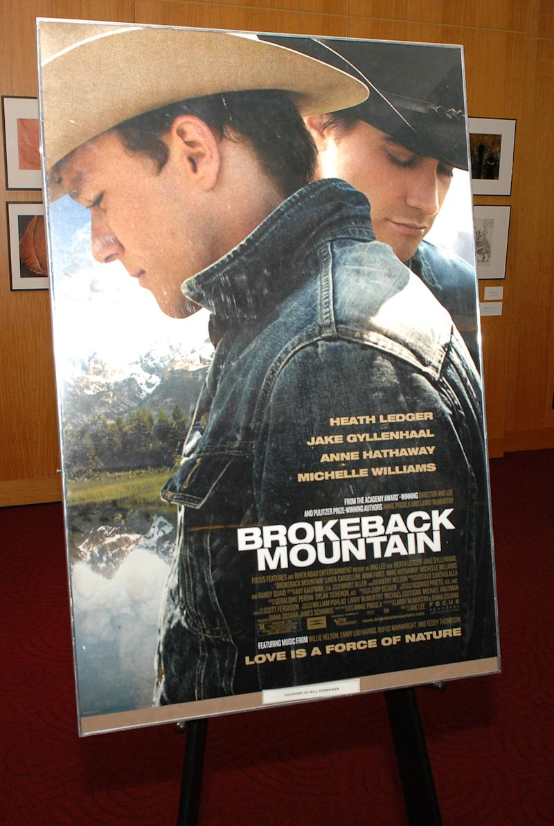 "BEVERLY HILLS, CA - AUGUST 4: The movie's poster is seen at the Academy of Motion Picture Arts and Sciences' Great to Be Nominated screening of ""Brokeback Mountain"" at the Samuel Goldwyn Theater on August 4, 2008 in Beverly Hills, California. (Photo by Stephen Shugerman/Getty Images)"