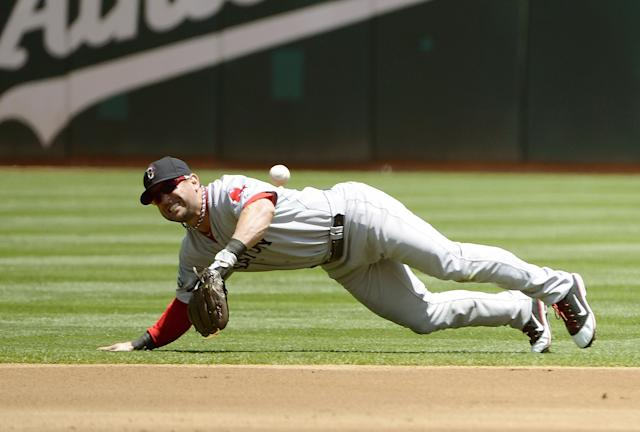 OAKLAND, CA - JULY 04: Nick Punto #5 of the Boston Red Sox can't make a play on the ball off the bat of Josh Reddick #16 of the Oakland Athletics in the first inning at O.co Coliseum on July 4, 2012 in Oakland, California. (Photo by Thearon W. Henderson/Getty Images)