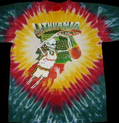 Greg Speirs' 1992 Lithuania Tie Dye Skullman® basketball uniforms are now forever part of Lithuania folklore. Original Skullman t-shirts are available from www.skullman.com (1992 Copyright & ® Trademarks of Greg Speirs / Licensor). (PRNewsfoto/Skullman.com)