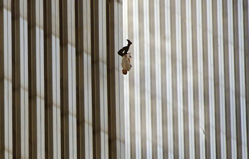 """""""The Falling Man"""" taken by Associated Press photographer Richard Drew during the Sept. 11, 2001, terrorist attacks on the World Trade Centre in New York."""