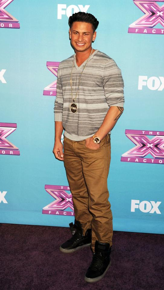 "Paul 'Pauly D' DelVecchio arrives at Fox's ""The X Factor"" Season Finale Night 1 at CBS Televison City at CBS Studios on December 19, 2012 in Los Angeles, California."