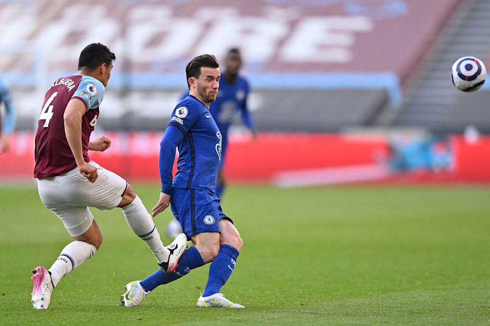 <p>Balbuena saw red for catching Chilwell off a clearance</p> (POOL/AFP via Getty Images)