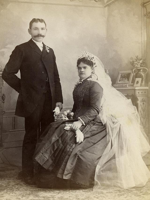 """<p>Many of the cabinet cards of couples date from between 1875 and 1895. The collection will be on display through Sept. 9, 2017. (Pictured: Vintage wedding portraits from """"I Do, I Do"""" exhibit) </p>"""