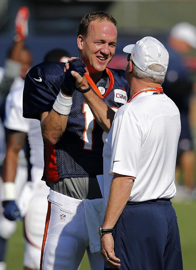 Denver Broncos' Peyton Manning, left, and head coach John Fox shake hands during NFL football training camp on Tuesday, Aug 12, 2014, in Englewood, Colo. (AP Photo/Jack Dempsey)