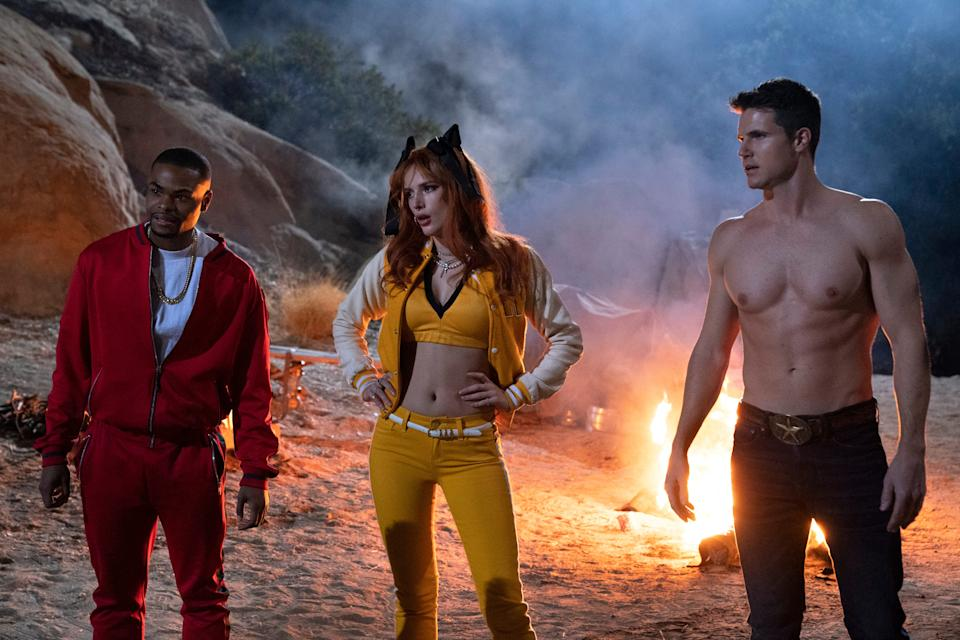 """Andrew Bachelor (left), Bella Thorne and Robbie Amell are resurrected members of a death cult in the horror-comedy sequel """"The Babysitter: Killer Queen."""""""