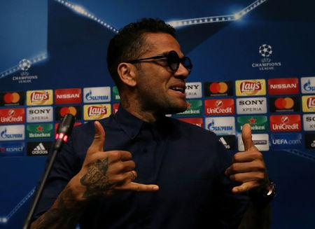 Soccer Football - Juventus news conference - UEFA Champions League Quarterfinal - Camp Nou stadium, Barcelona, Spain - 18/4/2017 - Juventus's Dani Alves attends a news conference. REUTERS/Albert Gea