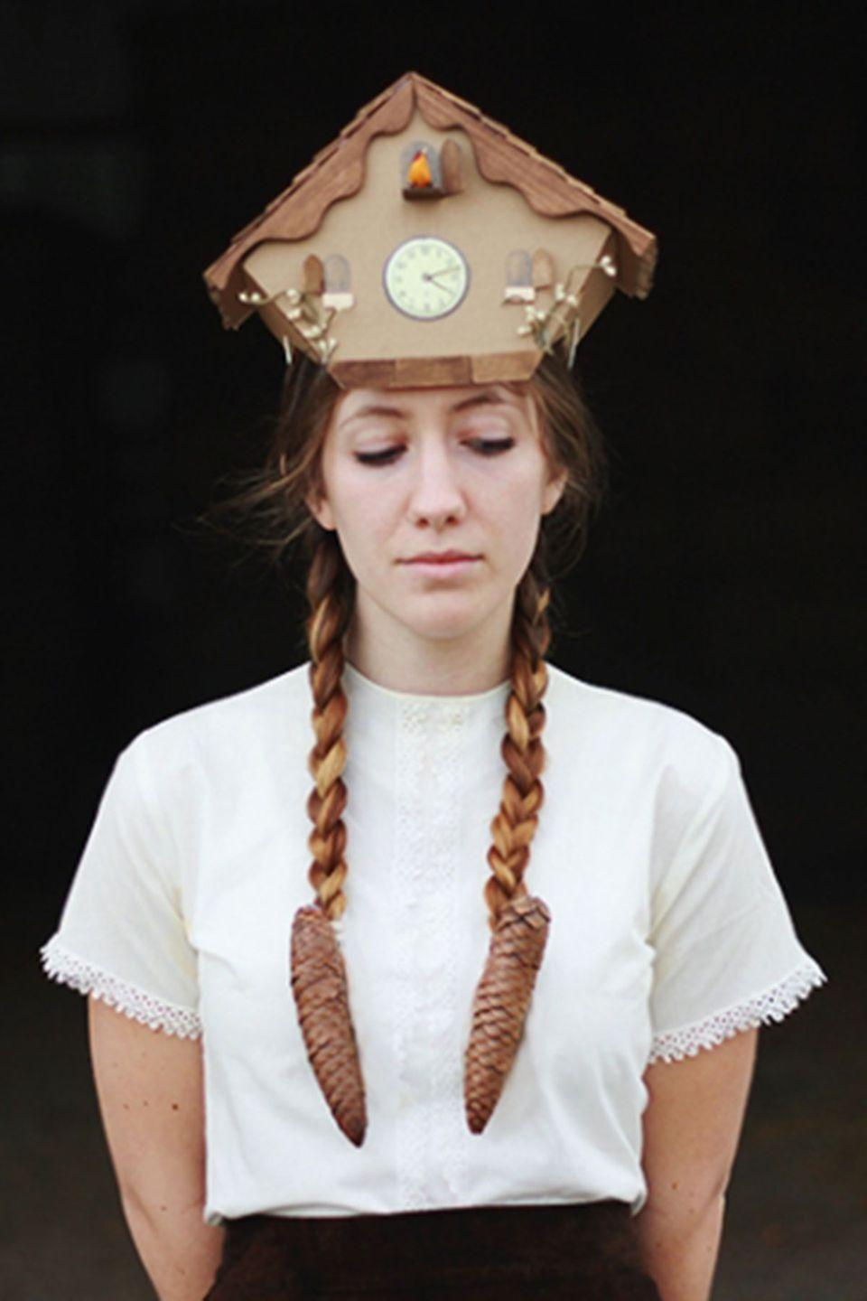 """<p>You're sure to be the only one at the Halloween party wearing this quirky costume—complete with pretty pendulum pinecone braids.<br></p><p><strong>Get the tutorial at <a href=""""http://themerrythought.com/diy/diy-cuckoo-clock-costume/"""" rel=""""nofollow noopener"""" target=""""_blank"""" data-ylk=""""slk:The Merrythought"""" class=""""link rapid-noclick-resp"""">The Merrythought</a>. </strong></p>"""