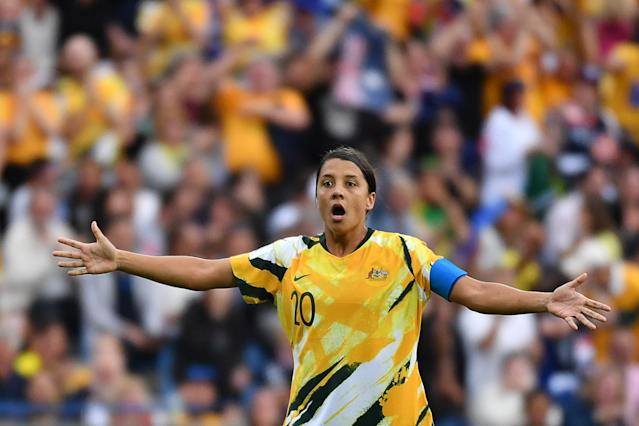 Australia's forward Samantha Kerr reacts during a refereeing decision before a goal was allowed during the France 2019 Women's World Cup Group C football match between Australia and Brazil, on June 13, 2019, at the Mosson Stadium in Montpellier, southern France. (Photo by Pascal GUYOT / AFP) (Photo credit should read PASCAL GUYOT/AFP/Getty Images)