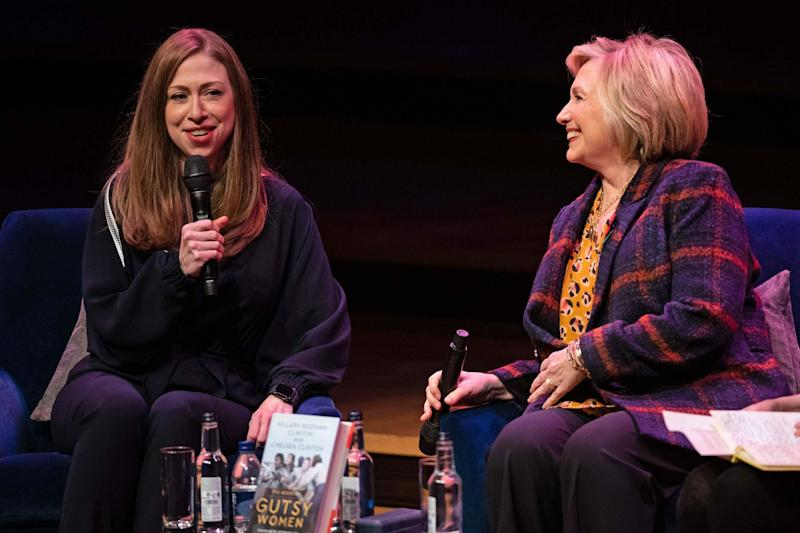 Chelsea Clinton (left) and Hillary Clinton at the Southbank Centre in London (PA)