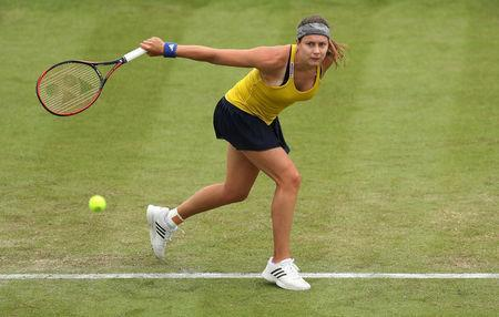 Tennis - WTA International - Nature Valley Open - Nottingham Tennis Centre, Nottingham, Britain - June 12, 2018 Switzerland's Stefanie Voegele in action during her first round match against Ashleigh Barty of Australia Action Images via Reuters/Peter Cziborra