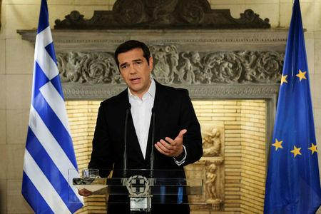 Greek Prime Minister Alexis Tsipras addresses the nation from his office in Maximos Mansion in Athens, Greece, June 12, 2018.  Andrea Bonetti/Greek Prime Minister's Office/Handout via REUTERS