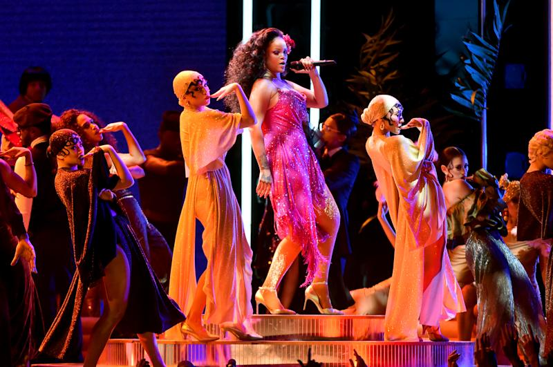 Recording artist Rihanna performs onstage during the 60th Annual GRAMMY Awards at Madison Square Garden on January 28, 2018 in New York City.