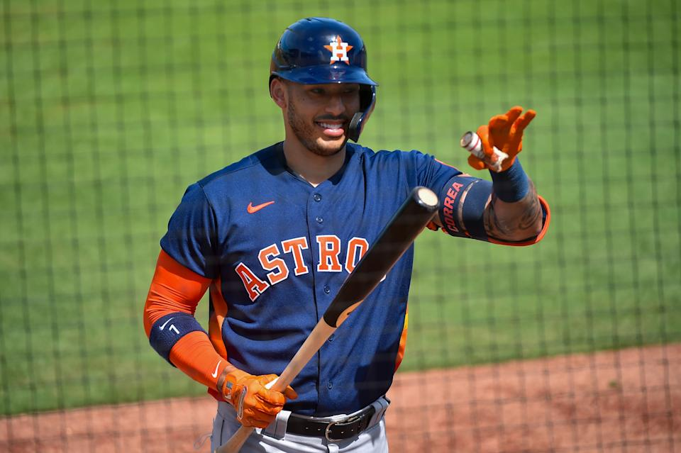 JUPITER, FL - MARCH 05: Carlos Correa #1 of the Houston Astros warms up on the on deck circle during the first inning of the Spring Training game against the Miami Marlins at Roger Dean Chevrolet Stadium on March 5, 2021 in Jupiter, Florida. (Photo by Eric Espada/Getty Images)