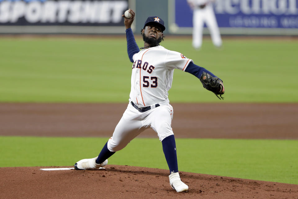 Houston Astros starting pitcher Cristian Javier (53) throws against the Arizona Diamondbacks during the first inning of a baseball game Saturday, Sept. 19, 2020, in Houston. (AP Photo/Michael Wyke)