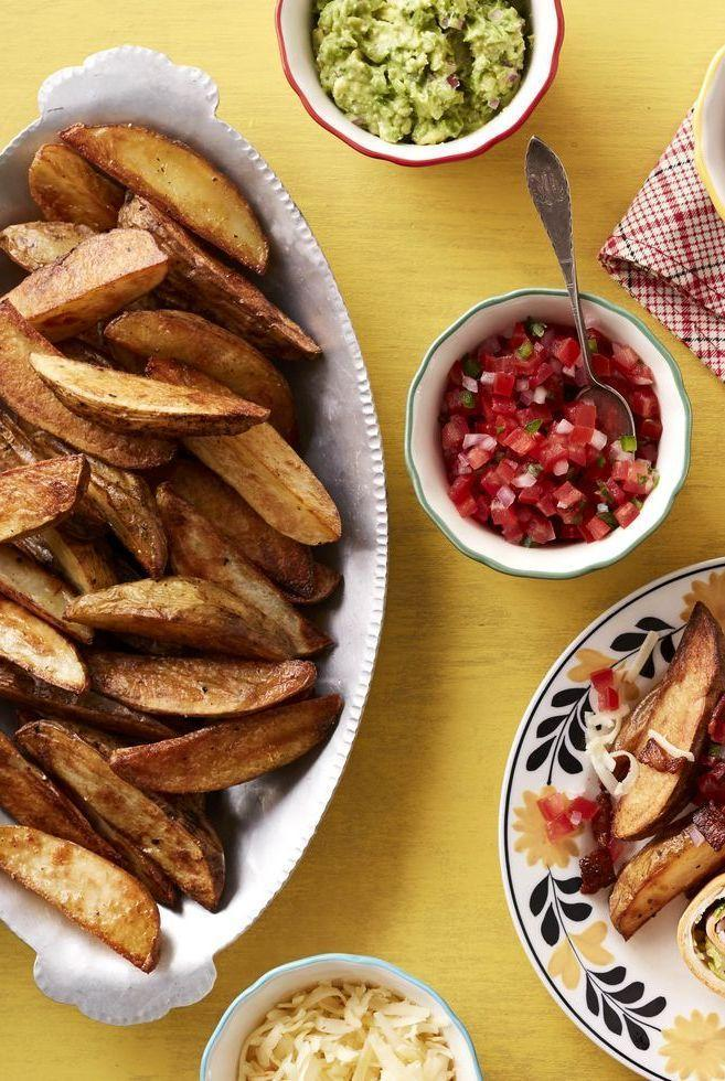 """<p>If you're planning on spending the evening with your whole crew, you can try setting up a """"toppings bar"""" next to these gorgeous wedge fries. They're beyond delicious.</p><p><strong><a href=""""https://www.thepioneerwoman.com/food-cooking/recipes/a34240013/loaded-wedge-fries/"""" rel=""""nofollow noopener"""" target=""""_blank"""" data-ylk=""""slk:Get the recipe"""" class=""""link rapid-noclick-resp"""">Get the recipe</a>.</strong></p><p><strong><a class=""""link rapid-noclick-resp"""" href=""""https://go.redirectingat.com?id=74968X1596630&url=https%3A%2F%2Fwww.walmart.com%2Fbrowse%2Fhome%2Fthe-pioneer-woman-cookware%2F4044_623679_6182459_9190581&sref=https%3A%2F%2Fwww.thepioneerwoman.com%2Ffood-cooking%2Fmeals-menus%2Fg36004463%2Fmemorial-day-appetizers%2F"""" rel=""""nofollow noopener"""" target=""""_blank"""" data-ylk=""""slk:SHOP COOKWARE"""">SHOP COOKWARE</a></strong></p>"""