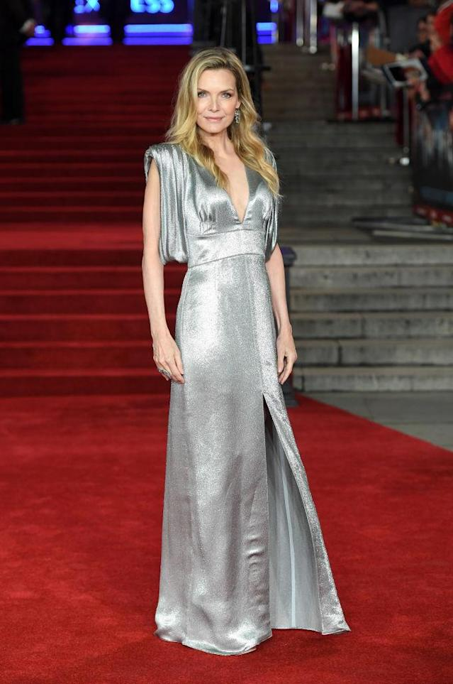 Pfieffer glowed in a metallic dress. (Photo: Getty Images)