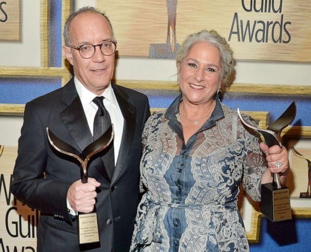 PHOTO: Honorees David Crane and Marta Kauffman, recipients of the Paddy Chayefsky Laurel Award, pose in the Press Room during the 2016 Writers Guild Awards, Feb. 13, 2016, in Los Angeles. (Charley Gallay/Getty Images for Writers Guild of America, West)