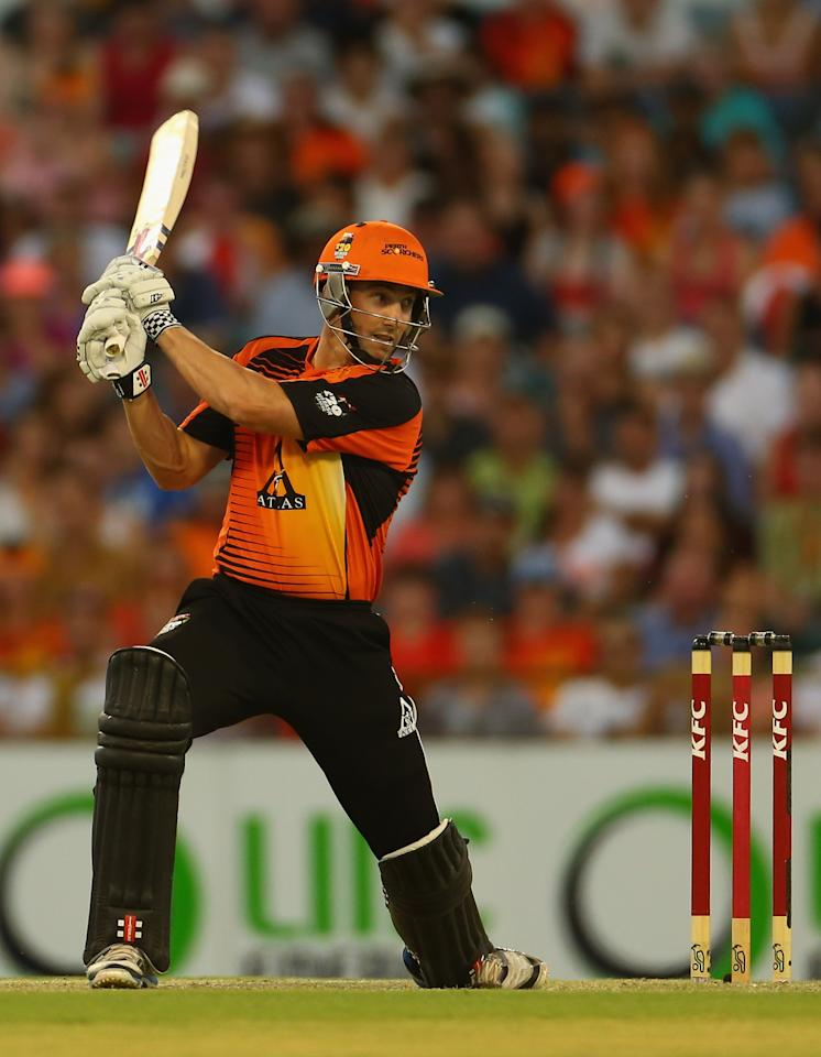 PERTH, AUSTRALIA - JANUARY 19:  Shaun Marsh of the Scorchers bats during the Big Bash League final match between the Perth Scorchers and the Brisbane Heat at the WACA on January 19, 2013 in Perth, Australia.  (Photo by Robert Cianflone/Getty Images)