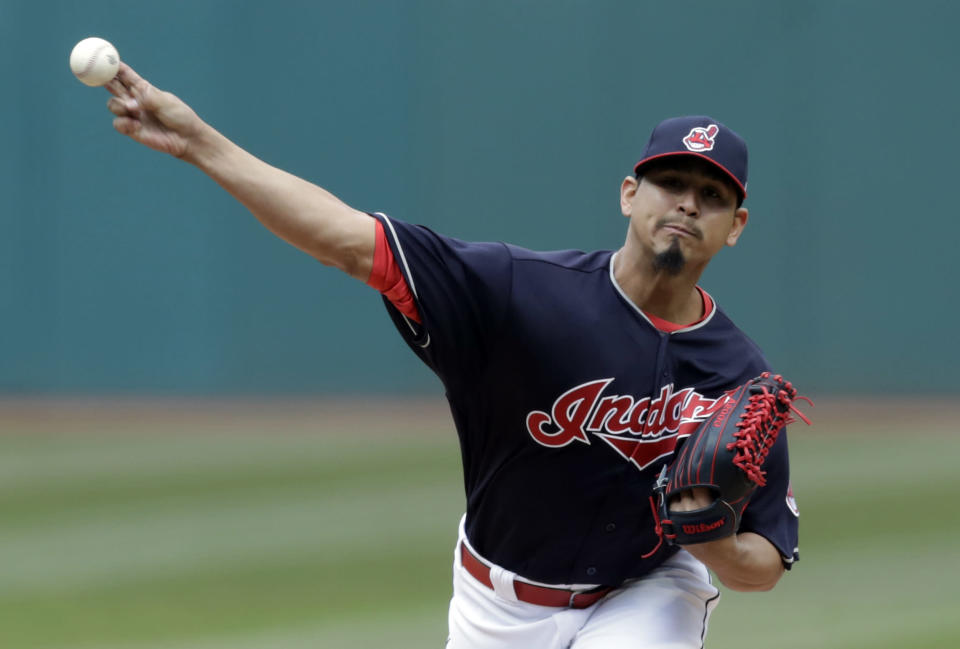 Cleveland Indians starting pitcher Carlos Carrasco is dominating in everything aside from strikeouts, but that should change soon. (AP Photo/Tony Dejak)