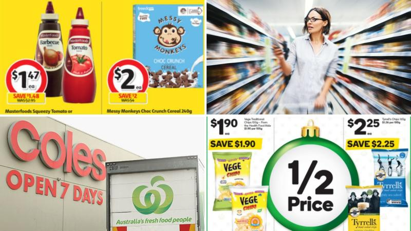 Coles and Woolworths signs and a woman pushing a trolley, plus screenshots of half-price items.