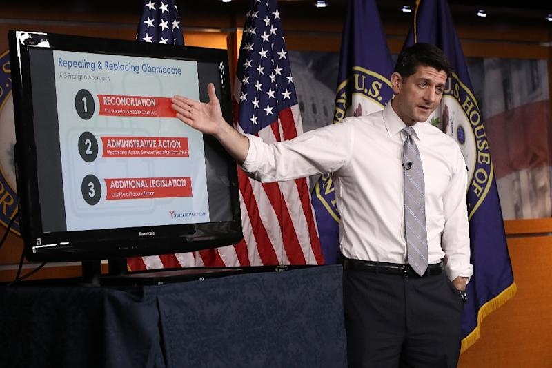 US Speaker of the House Paul Ryan explains the Republican plan to replace the Affordable Care Act during his weekly press conference at the Capitol March 9, 2017 in Washington, DC (AFP Photo/WIN MCNAMEE)