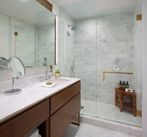 The bathroom featured marble and gold and felt very luxurious. Photo: Supplied