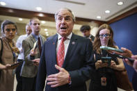 House Budget Committee Chairman John Yarmuth, D-Ky., pauses for reporters after meeting with the House Democratic Caucus and Biden administration officials to discuss progress on an infrastructure bill, at the Capitol in Washington, Tuesday, June 15, 2021. (AP Photo/J. Scott Applewhite)