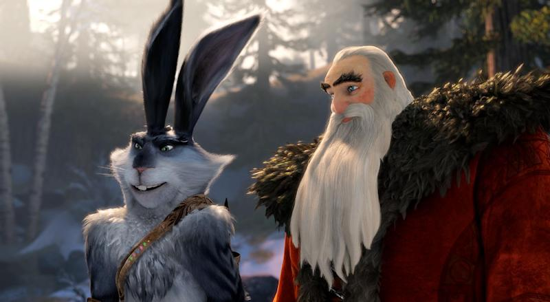 """This image released by Paramount Pictures shows Bunnymund, voiced by Hugh Jackman, left, and North, voiced by Alec Baldwin in a scene from """"Rise of the Guardians."""" (AP Photo/Paramount Pictures, DreamWorks Animation)"""