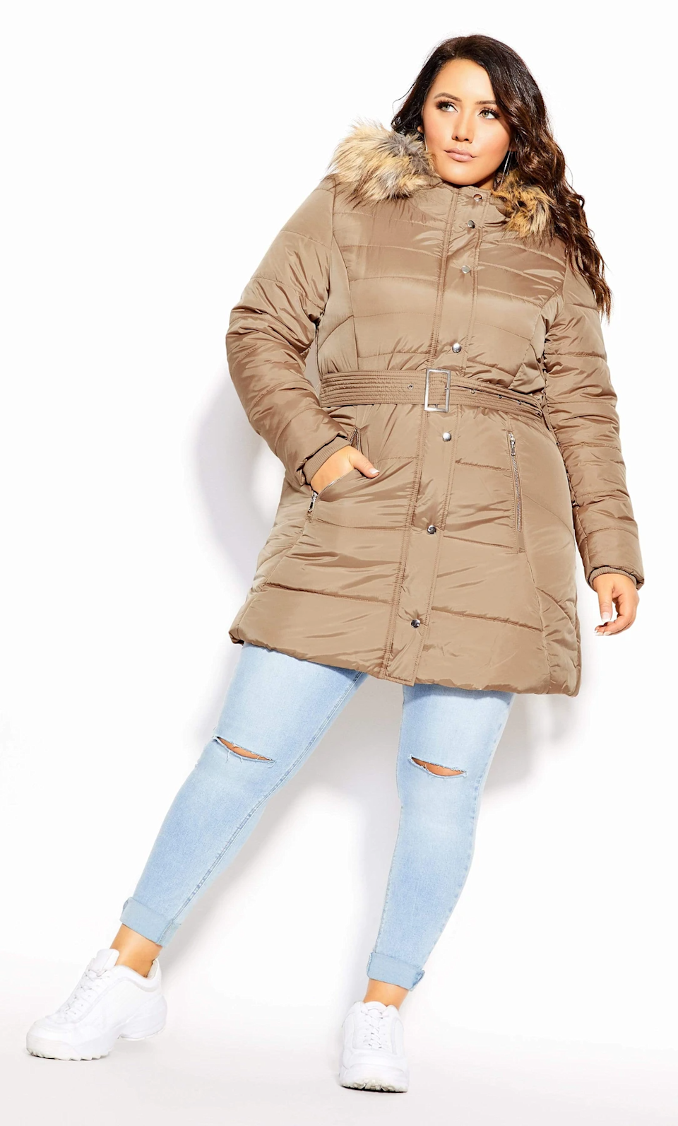 "<br><br><strong>City Chic</strong> Longline Puffa Jacket, $, available at <a href=""https://go.skimresources.com/?id=30283X879131&url=https%3A%2F%2Fcoedition.com%2Fcollections%2Fclothing-coats-jackets-coats%2Fproducts%2F200084taupe"" rel=""nofollow noopener"" target=""_blank"" data-ylk=""slk:CoEdition"" class=""link rapid-noclick-resp"">CoEdition</a>"