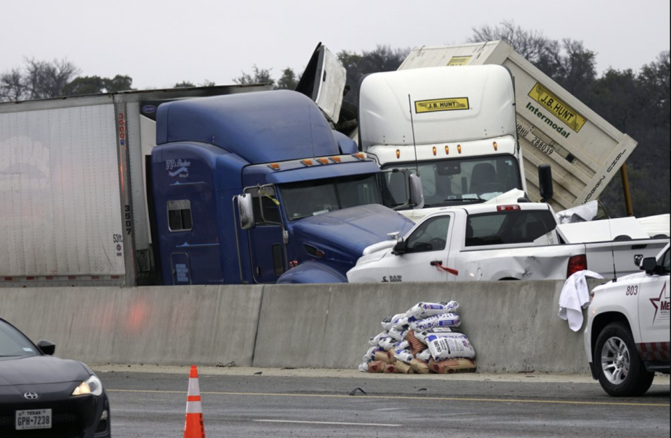 Vehicles after a fatal crash on Interstate 35 near Fort Worth. Source: The Dallas Morning News via AP