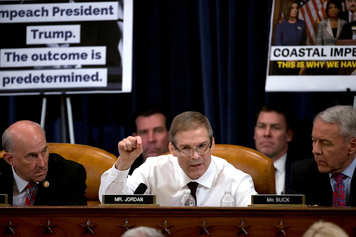 Rep. Jim Jordan, R-OH,  speaks during a House Judiciary Committee markup of the articles of impeachment against President Donald Trump, on Capitol Hill in Washington December 11, 2019. (Photo: Jose Luis Magana/Pool via Reuters)