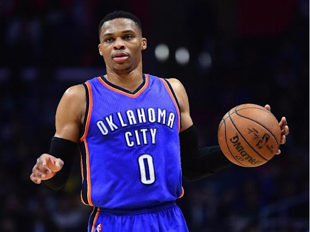 Russell Westbrook of the Oklahoma City Thunder, pictured in January 2017, scored his 40th triple-double of the season against the Charlotte Hornets (AFP Photo/Harry How)