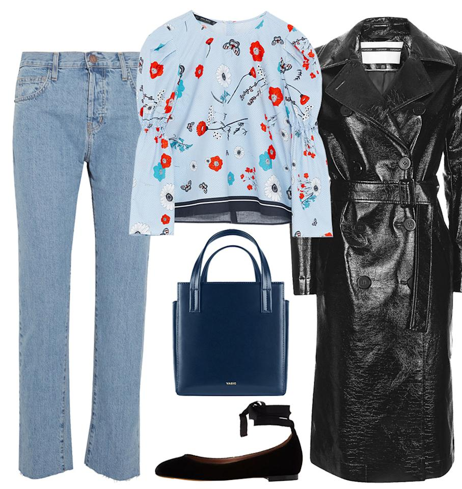 """<p>Pair jeans and a blouse for a put-together light look. Add a long trench for warmth and ballet flats to keep it casual yet sophisticated.</p>  <p><strong>Shop the look: </strong>Current/Elliott jeans, $200; <a rel=""""nofollow"""" href=""""http://click.linksynergy.com/fs-bin/click?id=93xLBvPhAeE&subid=0&offerid=254155.1&type=10&tmpid=6894&RD_PARM1=https%3A%2F%2Fwww.net-a-porter.com%2Fus%2Fen%2Fproduct%2F859163%2Fcurrent_elliott%2Fthe-vintage-straight-high-rise-jeans&u1=ISFASHIONWEIRDWEATHEROUTFITSBED"""">net-a-porter.com</a>. Zara top, $40; <a rel=""""nofollow"""" href=""""http://www.zara.com/us/en/woman/tops/view-all/printed-poplin-top-c719021p4326506.html"""">zara.com</a>. Vasic bag, $450; <a rel=""""nofollow"""" href=""""http://www.vasic-newyork.com/steady_mini_pink.html"""">vasic-newyork.com</a>. Tabitha Simmons flats, $595; <a rel=""""nofollow"""" href=""""http://click.linksynergy.com/fs-bin/click?id=93xLBvPhAeE&subid=0&offerid=313720.1&type=10&tmpid=9895&RD_PARM1=https%3A%2F%2Fwww.modaoperandi.com%2Ftabitha-simmons-r17%2Fdaria-ballerina-flat&u1=ISFASHIONWEIRDWEATHEROUTFITSBED"""">modaoperandi.com</a>. Topshop coat, $210; <a rel=""""nofollow"""" href=""""http://click.linksynergy.com/fs-bin/click?id=93xLBvPhAeE&subid=0&offerid=455417.1&type=10&tmpid=8372&RD_PARM1=http%3A%2F%2Fus.topshop.com%2Fen%2Ftsus%2Fproduct%2Fclothing-70483%2Fjackets-coats-2390895%2Fvinyl-trench-6349645%3Fbi%3D0%2526ps%3D20&u1=ISFASHIONWEIRDWEATHEROUTFITSBED"""">topshop.com</a>.</p>"""