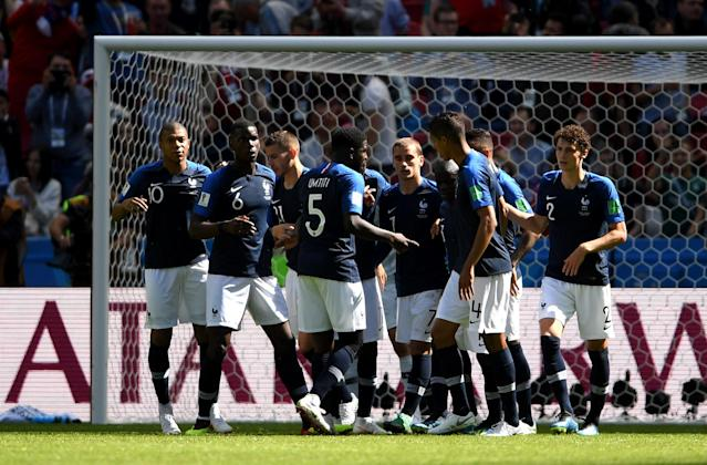 <p>France celebrate after going ahead – but the lead didn't last long </p>