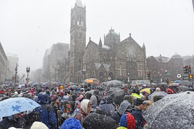 <p>Fans gather in Copley Square before the start of a New England Patriots victory parade on February 7, 2017 in Boston, Massachusetts. The Patriots defeated the Atlanta Falcons 34-28 in overtime in Super Bowl 51. (Photo by Michael J. Ivins/Getty Images) </p>