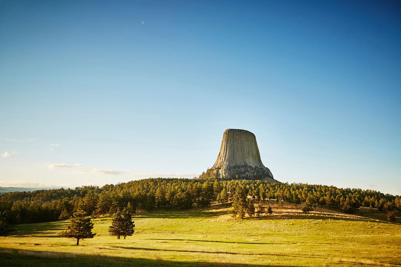 <p>This spectacular natural monolith, known as Devil's Tower and located in Wyoming, makes a perfect perch for an alien ship touching down on planet earth. </p>