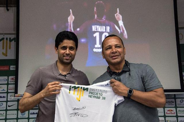 PSG president Nasser Al-Khelaifi travelled to Brazil to visit Neymar as the world's most expensive player recovers from foot surgery (AFP Photo/NELSON ALMEIDA)