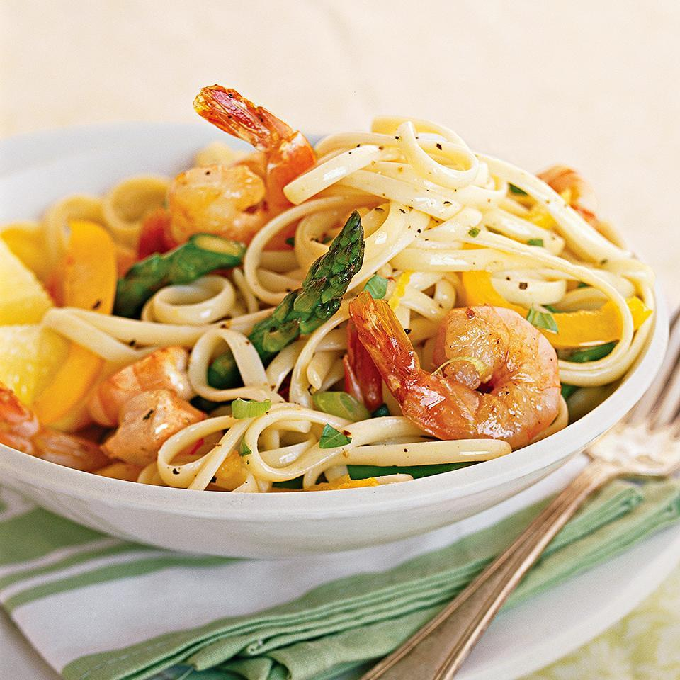 "<p>Basil, considered to be a royal herb in ancient Greece, provides color and flavor in this quick, diabetic-friendly seafood and pasta recipe. <a href=""http://www.eatingwell.com/recipe/263144/basil-lemon-shrimp-linguine/"" rel=""nofollow noopener"" target=""_blank"" data-ylk=""slk:View recipe"" class=""link rapid-noclick-resp""> View recipe </a></p>"