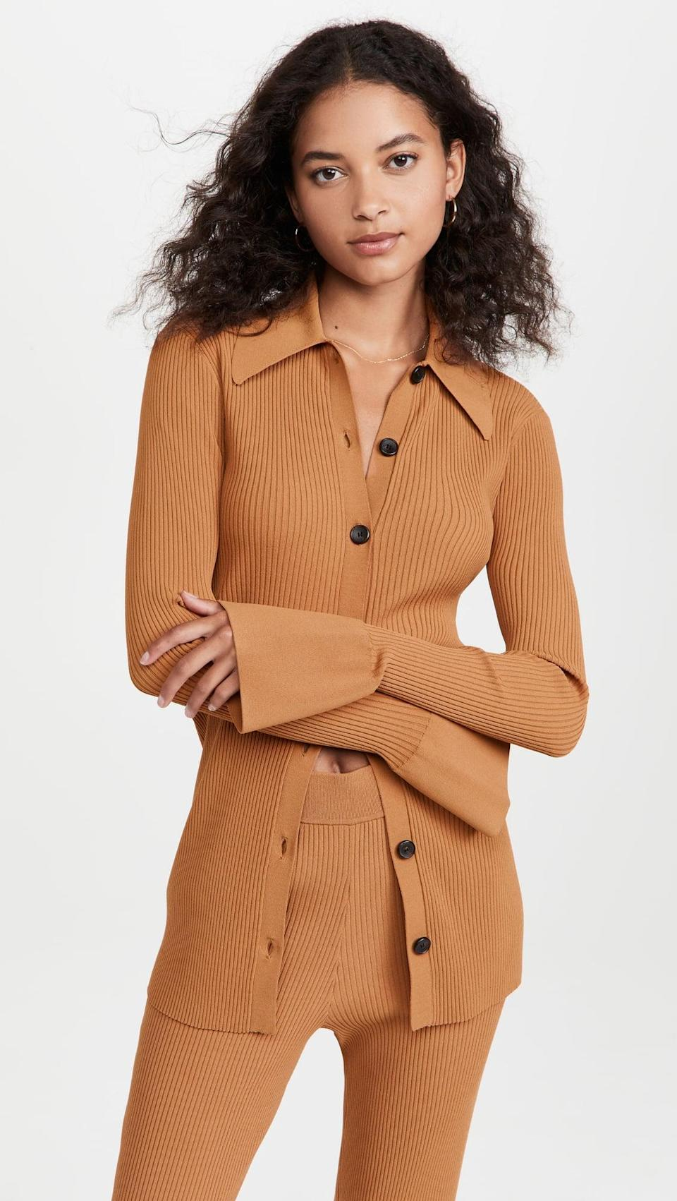 """<p>""""This <span>A.L.C. Eleanor Cardigan</span> ($395) is hands down my favorite fall top as it is extremely wearable, easy to style, and made from ribbed knit (a fabric I gravitate to no matter the season). It is polished enough to wear to the office, yet with the top and bottom buttons undone, it can turn into a sultry evening look."""" - SJ</p>"""