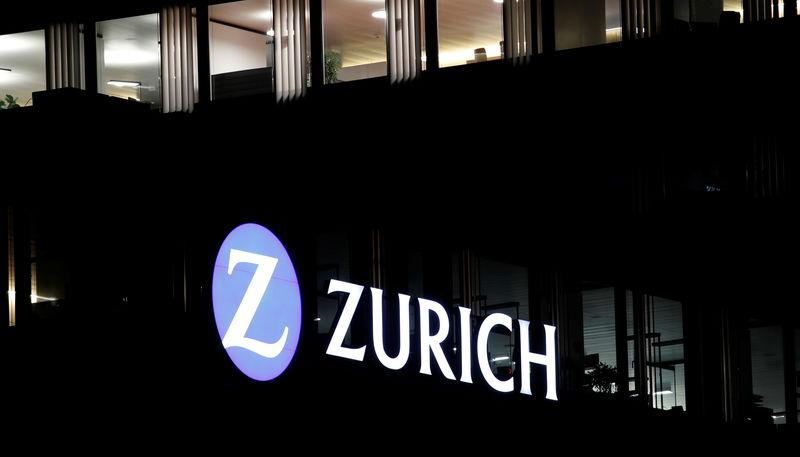 Logo of Swiss Zurich insurance is seen at an office building in Zurich