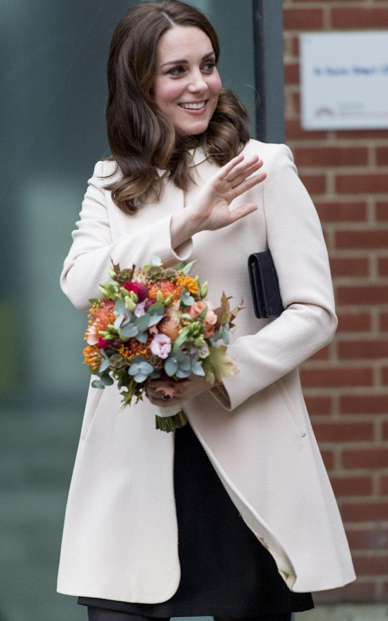 The Duchess of Cambridge today, wearing Goat - UK Press